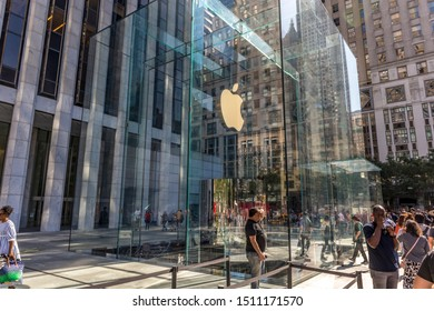 New York City - United States of America - September 20th 2019: Visiting the reopened Apple Store in 5th Avenue, the biggest Apple Store in the world after the launch of iPhone 11 and Pro (Max).