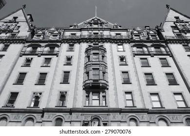 New York City, United States - old building in Midtown Manhattan. Dakota building. Black and white tone - retro monochrome color style.