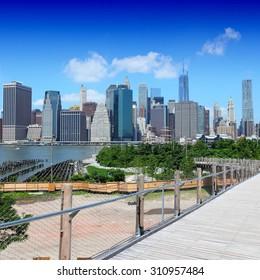 New York City, United States - Manhattan skyline from Brooklyn Heights
