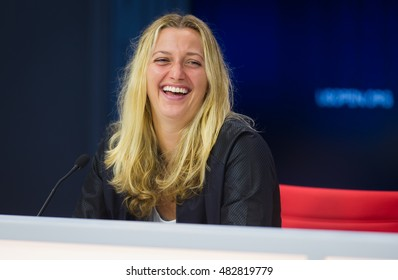 NEW YORK CITY, UNITED STATES - AUGUST 31 : Petra Kvitova talks to the media at the 2016 US Open Grand Slam tennis tournament