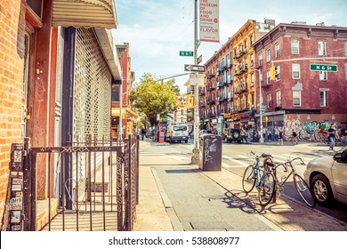 New York City, United States - August 23, 2016: Bedford Avenue in Williamsburg, Brooklyn on a beautiful Weekend afternoon