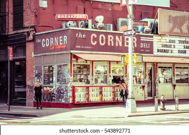 New York City, United States - August 24, 2016: The corner deli is a typical deli located on Nolita, manhattan
