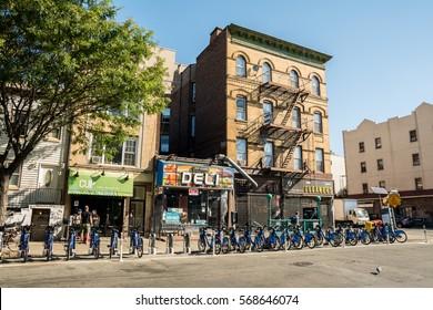 New York City, United States - August 23, 2016:  Street on Williamsburg neighborhood, located on Brooklyn on a beautiful Weekend afternoon