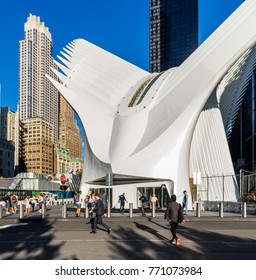 "New York City, United States - August 23, 2017: Exterior of the World Trade Center Transportation Hub, alsol known as ""the Oculus"" and designed by architect Santiago Calatrava."