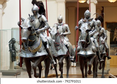 New York City, United States - Jun 24, 2007: Knights and armour room in Metropolitan Museum of Art; The MET