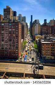 New York City, USA - 05/11/2019: The image shows the traffic from the 1st Avenue near the Queensboro Bridge in Manhattan.