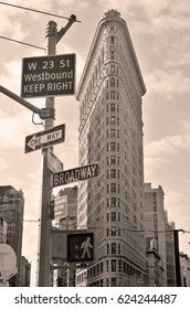NEW YORK CITY USA 10 28 13: Flatiron Building or Fuller Building is a triangular 22-story steel-framed landmarked building located at 175 Fifth Avenue in the borough of Manhattan, New York City