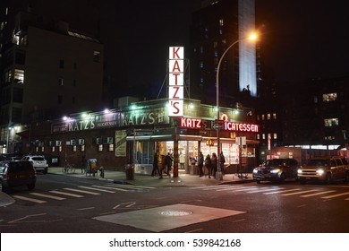 NEW YORK CITY, USA - 12/19/2016: Katz's Delicatessen (est. 1888), a famous restaurant, known for its Pastrami sandwiches. Shot at night using long exposure in New York City, USA