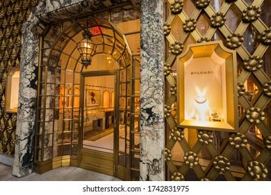 New York City, USA - 27 Dec 2019: Entrance to the Bulgari Store on 5th Avenue in Manhattan
