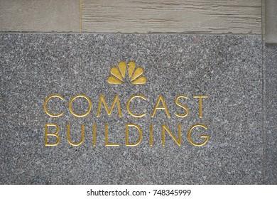 NEW YORK CITY, USA: 28 October 2017: Comcast Building Sign