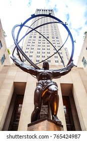 New York City, USA - 30 August 2014: Atlas statue and Rockefeller Center in NYC