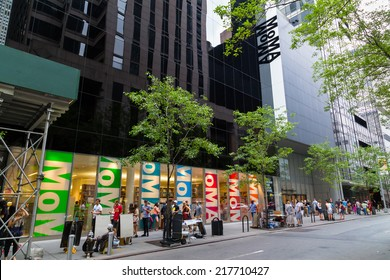 NEW YORK CITY, USA -  30TH AUGUST 2014: The outside of the Moma Museum in central New York. People can be seen outside