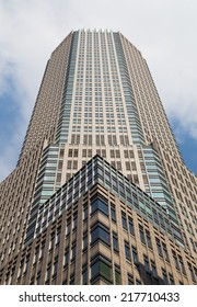NEW YORK CITY, USA -  31ST AUGUST 2014: A low angle view of a modern office building in central New York during the day