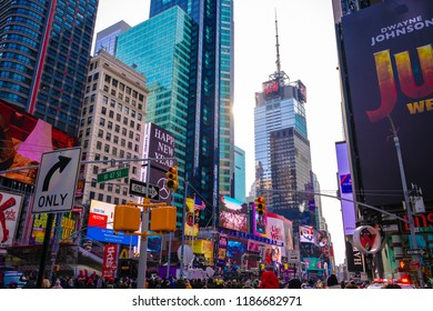 New York City, USA - 31th December 2017: A lot of people came to Times Square to wait for ball drop or new year celebration. The street was crowded with people and car on Winter