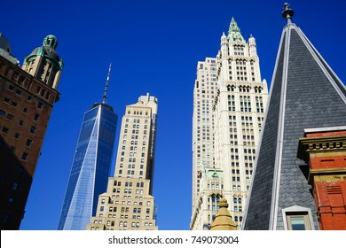 NEW YORK CITY, USA - 4 NOVEMBER 2017. Lower Manhattan Skyline with focus on Woolworth building