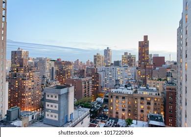 New York City, USA. Amazing aerial Manhattan view at sunset.