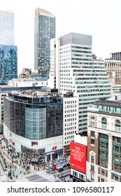 New York City, USA - April 6, 2018: Aerial view of urban cityscape, skyline, rooftop building skyscrapers in NYC Herald Square Midtown with Macy's store, HM, Verizon