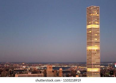 New York City, USA - April 2018: 432 park avenue skyscraper at twilight in manhattan