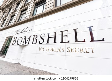 New York City, USA - April 7, 2018: Manhattan NYC building exterior in midtown Herald Square on 6th avenue, Victoria's Secret sign