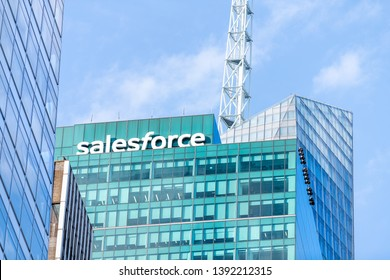 New York City, USA - April 6, 2018: View of urban cityscape skyline building skyscraper in NYC Midtown with Salesforce office sign