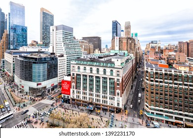New York City, USA - April 7, 2018: Panoramic view of urban cityscape rooftop building skyscrapers in NYC Herald Square Midtown with Macy's store