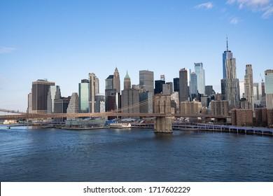 new York city, New York / USA - April 29 2020: Brooklyn Bridge in New York City. Manhattan skyline view with Brooklyn Bridge.