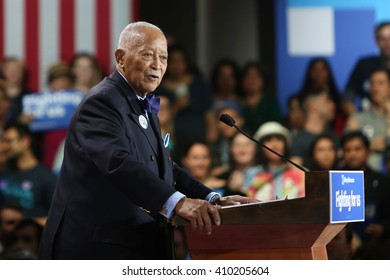 New York City, New York, USA; April 29th, 2016; Congressman Charlie Rangel (D-NY) speaks at Democratic Presidential Candidate Hillary Clinton' victory rally at the Sheraton Hotel Times Square.