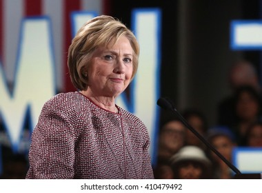 New York City, New York, USA, April 19th, 2016; Democratic Presidential Candidate Hillary Clinton speaks during her victory rally at the Sheraton Hotel Times Square.