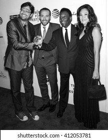 New York City, USA - April 23, 2016: Fernando Caruso, Seth Michaels, Former Brazilian footballer Pele and Marcia Aoki attend - Pele: Birth Of A Legend - Premiere during the 2016 Tribeca Film Festival
