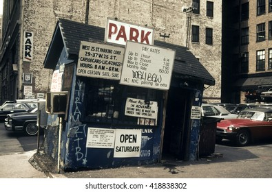 New York City, USA - April 15, 1985: Old parking with a dilapidated office in Manhattan in the 80s