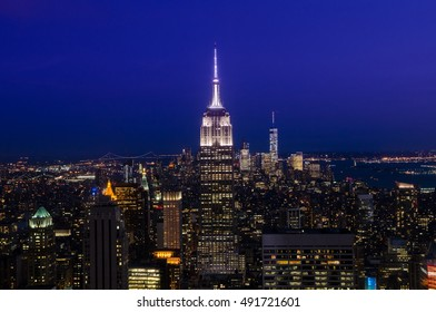 New York City, USA - Aug 10, 2016: Manhattan downtown skyline in New York City, with Empire State Building and skyscrapers at night