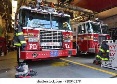 NEW YORK CITY, USA - AUG. 23 : FDNY fire truck parked in the fire station in Manhattan on August 23, 2017 in New York City, NY. Manhattan is the most densely populated borough of New York City.