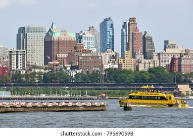 NEW YORK CITY, USA - AUG. 27: View to Brooklyn on August 27, 2017 in New York City, NY. Brooklyn is the most populous borough of New York City.