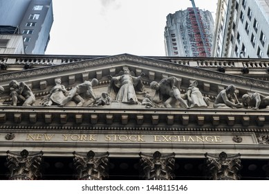 """New York City, USA - August 1, 2018: Facade of the Headquarters of New York Stock Exchange (NYSE, nicknamed """"The Big Board"""") in Wall Street, Lower Manhattan, New York City, USA."""