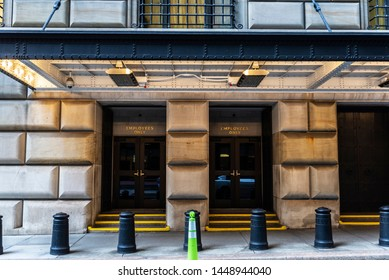 New York City, USA - August 1, 2018: Entry only for employees of the headquarters of the Federal Reserve Bank of New York in Lower Manhattan, New York City, USA.