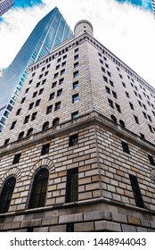 New York City, USA - August 1, 2018: Facade of the headquarters of the Federal Reserve Bank of New York in Lower Manhattan, New York City, USA.