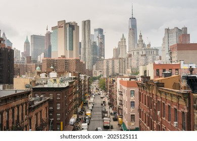 New York City, USA - August 6, 2019:walking among the skyscrapers of New York during a cloudy day