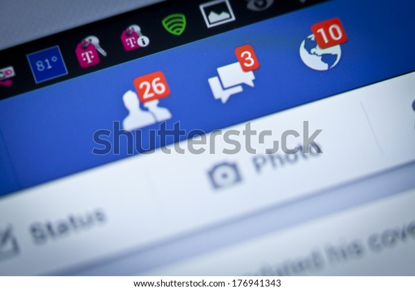 New York City, USA - August 25, 2013: Facebook notifications of friend request ,message and notification on a smart phone. Facebook is a social networking service, owned and operated by Facebook, Inc.