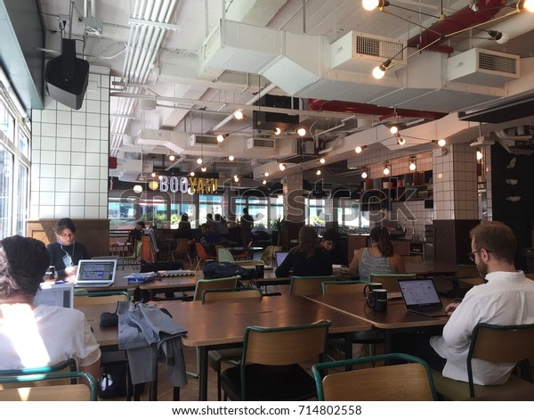 NEW YORK CITY, USA - AUGUST 2017:  Interior. WeWork is American company shared workspace, community, for entrepreneurs, freelancers, startups small businesses. $4.4 Billion Investment from SoftBank.