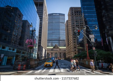 NEW YORK CITY, USA - CIRCA JUNE 2016: View of Grand Central Terminal with MetLife Building in the background from Park Avenue