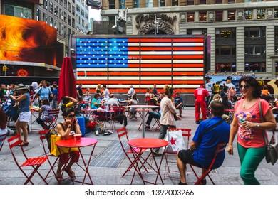 NEW YORK CITY, USA - CIRCA AUGUST 2015: Times Square American LED flag