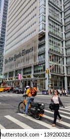 NEW YORK CITY, USA - CIRCA AUGUST 2015: The New York Times Building on  Eighth Avenue is the New York Times headquarters.