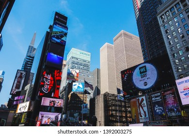 NEW YORK CITY, USA - CIRCA AUGUST 2015: Times Square, a major tourist attraction  is surrounded by skyscrapers adorned by electronic billboards.