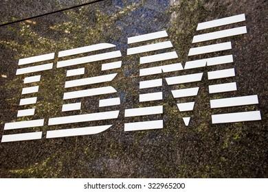 NEW YORK CITY, USA - CIRCA SEPTEMBER 2014: IBM brand name logo in New York City