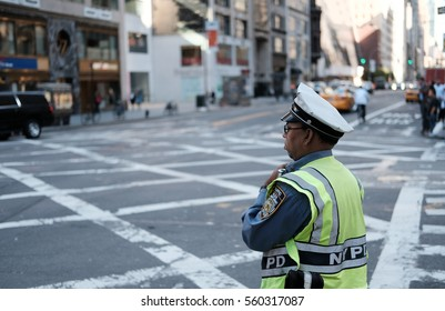 NEW YORK CITY, NEW YORK, USA - CIRCA OCTOBER 2016: NYPD traffic control officer seen on the busy streets of New York in a typical busy time of day.
