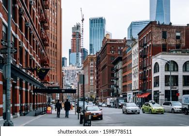 New York City - USA - Dec 6 2019: Representative red brick architectural of  Tribeca district in Lower Manhattan New York City