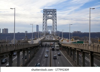 New York City, USA - December 25, 2013: Traffic at the George Washington Bridge. George Washington Bridge is a double-decked bridge that connects New York City and New Jersey.