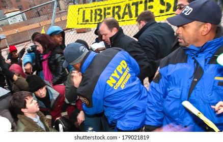 NEW YORK CITY, USA - DECEMBER 17 2011: Occupy Wall Street, protesting financial malfeasance, marked its 90 day anniversary with marches in Manhattan. NYPD clash with activists by Duarte Square,