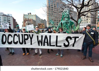 NEW YORK CITY, USA - DECEMBER 17 2011: Occupy Wall Street, protesting financial malfeasance, marked its 90 day anniversary with marches in Manhattan. Occupy banner moving uptown