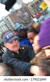 NEW YORK CITY, USA - DECEMBER 17 2011: Occupy Wall Street, protesting financial malfeasance, marked its 90 day anniversary with marches in Manhattan. Clashing with NYPD by Duarte Square
